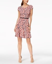 Jessica Howard Petite Belted Geo Print Fit And Flare Dress Coral Navy Tan