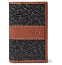 Mulberry Leather Trimmed Pebble Grain Coated Canvas Cardholder Black