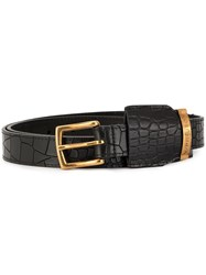 Y Project Embossed Crocodile Effect Belt Black