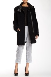 Maje Genuine Lamb Leather And Fur Coat Black