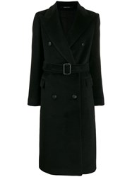 Tagliatore Double Breasted Wool Coat Black