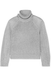 Rta Mick Metallic Knitted Turtleneck Sweater Silver