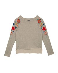 Hudson Distressed French Terry Sweatshirt W Flower And Star Embroidery Gray