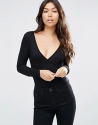 Asos Wrap Front Body With Long Sleeves Black