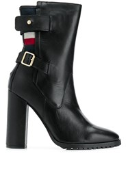 Tommy Hilfiger Tricolour Stripe Buckled Boots Black