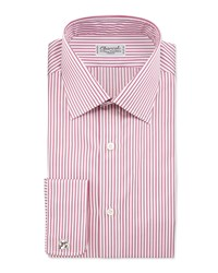 Charvet Striped French Cuff Dress Shirt Berry White