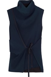 Cedric Charlier Asymmetric Wrap Effect Crepe Turtleneck Top Navy