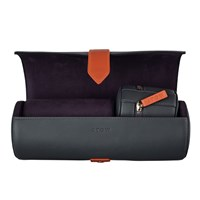 Stow Soft Leather Sanderson Travel Watch Roll And Stud Box Set Onyx Grey And Deep Purple