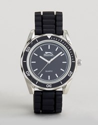 Slazenger Silicone Bracelet Watch In Black And Silver Black