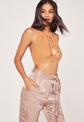 Missguided Lace Up Front Mesh Overlay Bralet Nude Pink