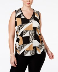 Inc International Concepts Plus Size Patchwork Snakeskin Print Top Only At Macy's Patched Snake