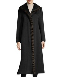 Fleurette Magnetic Wool Duster Coat W Spiral Mink Fur Black
