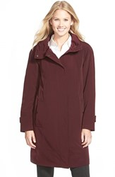 Women's Gallery Ruched Collar A Line Raincoat Aubergine
