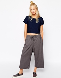 Monki Wide Leg Tie Waist Trouser Grey