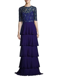 Teri Jon Sequined Tiered Gown Royal Blue