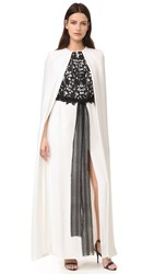 Monique Lhuillier Column Gown Silk White Noir