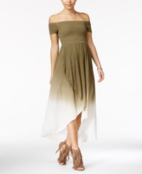 American Rag Off The Shoulder Tulip Front Maxi Dress Only At Macy's Dusty Olive