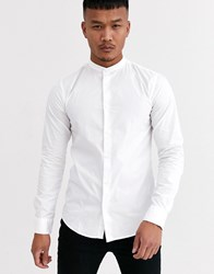 Only And Sons Cotton Shirt With Grandad Collar In White