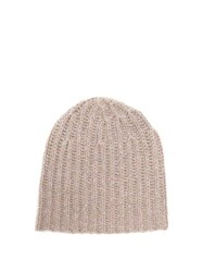 Gabriela Hearst Donegal Rib Knitted Cashmere Beanie Hat Camel