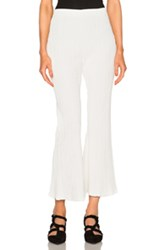 Proenza Schouler Micro Pleat Flare Knit Pants In White