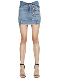 Rta Stretch Cotton Denim Skirt W Zip Front