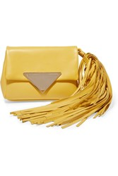 Sara Battaglia Teresa Fringed Leather Clutch Yellow