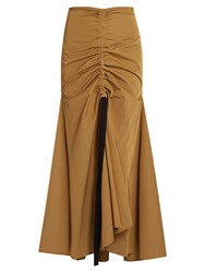Ellery Doll Face Ruched Front Maxi Skirt Camel