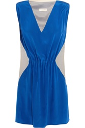 Vionnet Paneled Satin Crepe And Silk Organza Top Blue