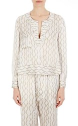Isabel Marant Women's Simon Silk Crop Blouse Nude