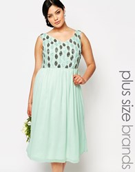 Lovedrobe Embellished Bodice Midi Prom Dress Green