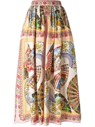 Dolce And Gabbana Long Fans Printed Skirt Multicolour