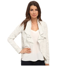 Kensie Streaky Slub Ponte Jacket Ks8k2213 Ivory Multi Women's Coat Bone