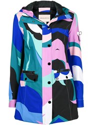 Emilio Pucci Colour Block Fitted Coat Blue