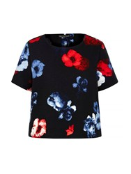 Mela Loves London Floral Print Shell Top Black