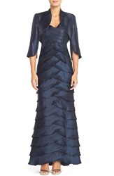 Women's Adrianna Papell Beaded Tiered Gown And Bolero