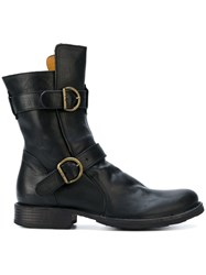 Fiorentini Baker Heeled Buckle Boots Leather Black