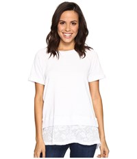 Allen Allen Short Sleeve Raglan Crew With Lace Hem White Women's Clothing