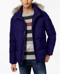 Calvin Klein Men's Faux Fur Lined Hooded Coat Midnight