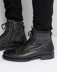 Aldo Giannola Lace Up Boots In Grey Leather Grey