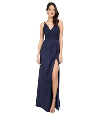 Faviana Faille Satin V Neck Gown With Draped Skirt Navy Women's Dress