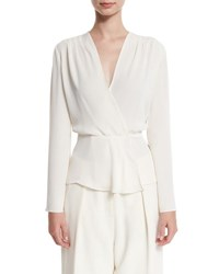 Elizabeth And James Layla Chiffon Surplice Blouse Ivory
