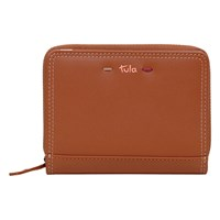 Tula Violet Leather Small Zip Around Wallet Purse Tan