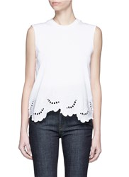 Victoria Beckham 'Delft' Floral Embroidered Sleeveless T Shirt White