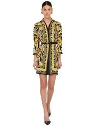 Versace Printed Silk Twill Shirt Dress Black Gold