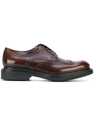 Salvatore Ferragamo Brogue Detail Derby Shoes Men Calf Leather Leather Rubber 6 Brown