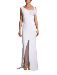 Antonio Berardi Embroidered Cut Out Shoulder Gown White