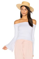 Michael Lauren Hyatt Off Shoulder Bell Sleeve Top White