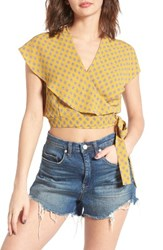 June And Hudson Women's Cape Sleeve Wrap Crop Top Gold Grey