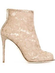 Dolce And Gabbana Floral Lace Booties Nude And Neutrals