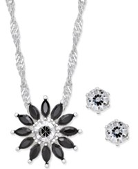 Charter Club Silver Tone Black Crystal Floral Pendant Necklace And Earrings Set Only At Macy's